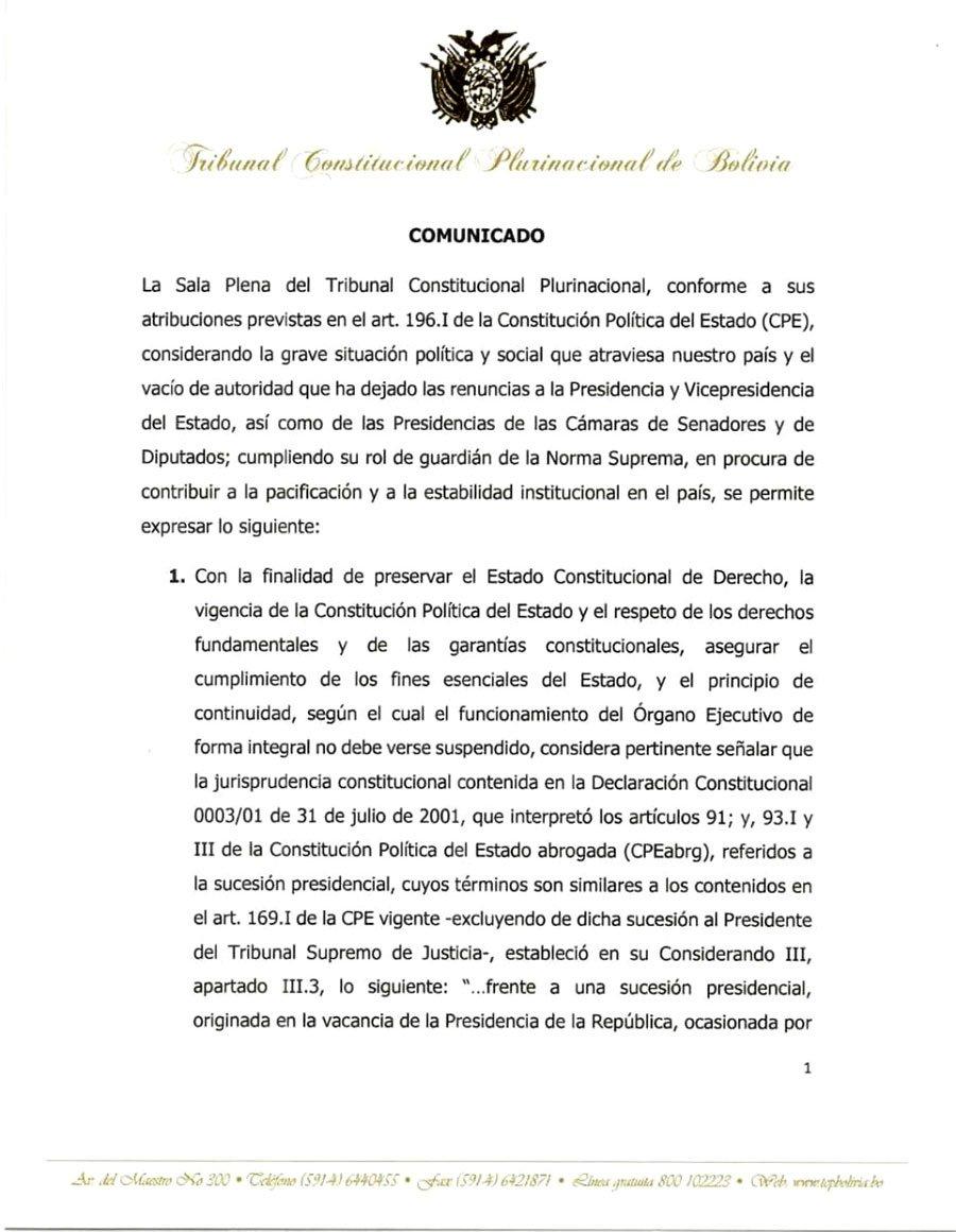 Comunicado Tribunal Constitucional Plurinacional 1