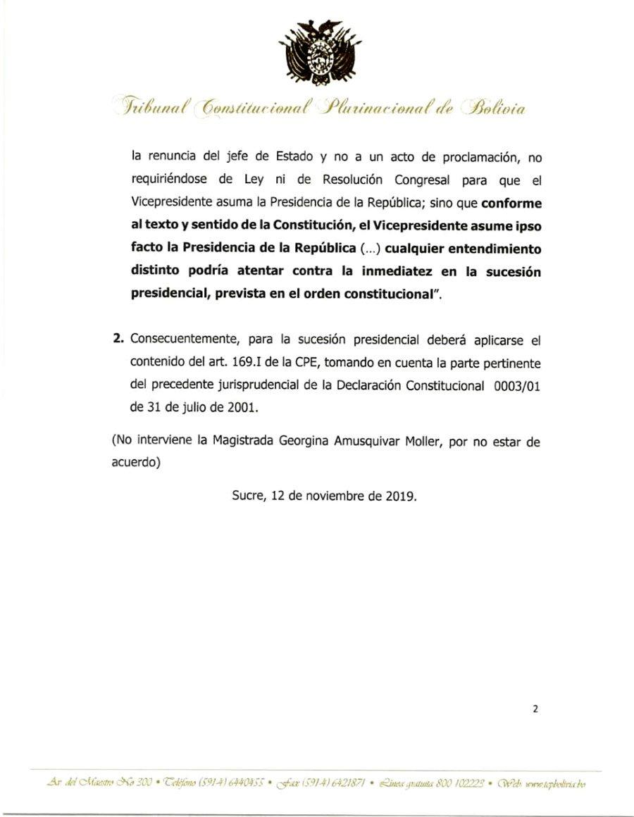 Comunicado Tribunal Constitucional Plurinacional 2
