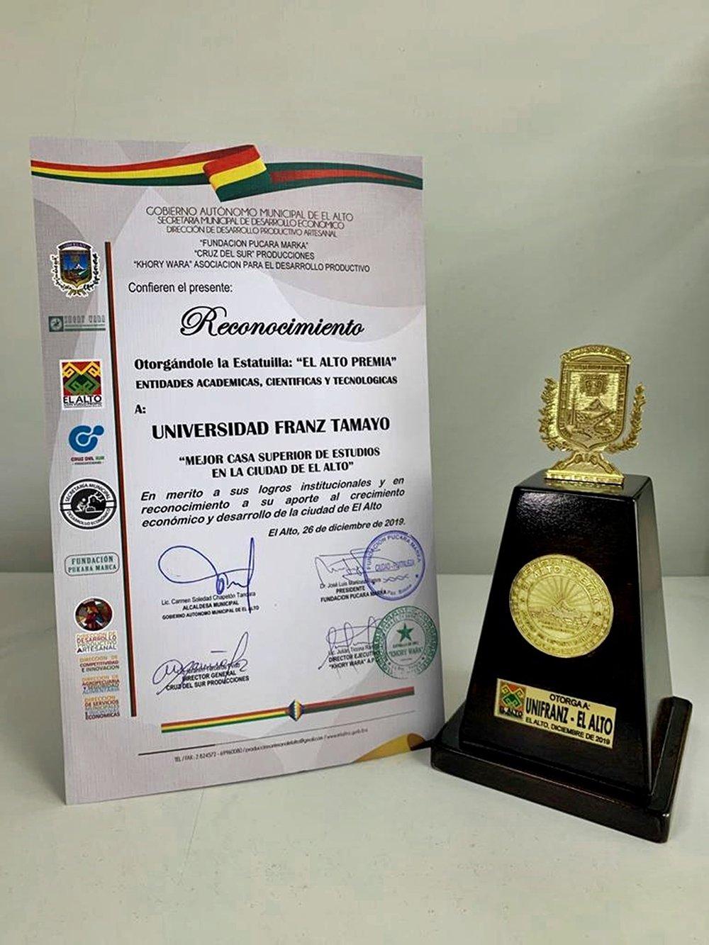 Reconocimiento otorgado a UNIFRANZ