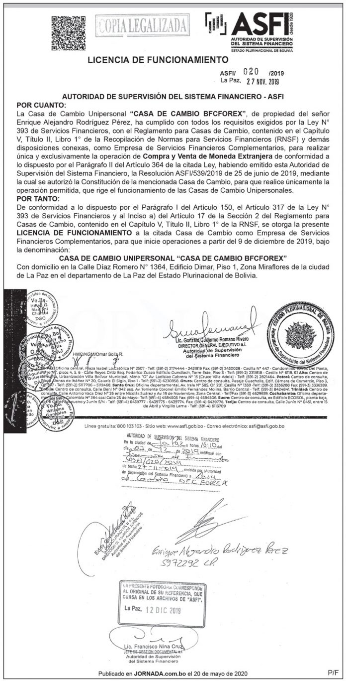 Licencia de Funcionamiento ASFI 020 2019 3ra publicación