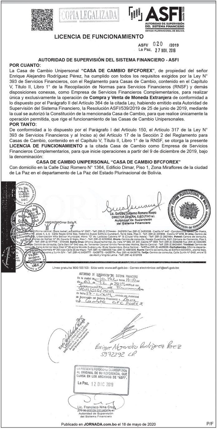 Licencia de Funcionamiento ASFI 020 2019