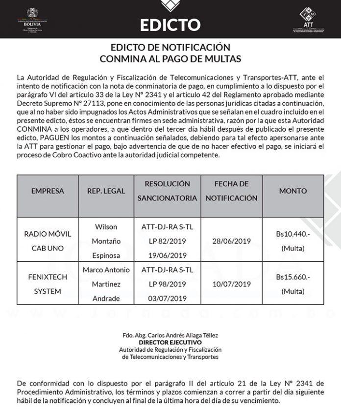 ATT EDICTO DE NOTIFICACIÓN CONMINA AL PAGO DE MULTAS