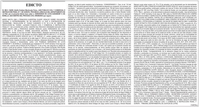 Edicto contra herederos de Lucía Agramont V. de Bonilla