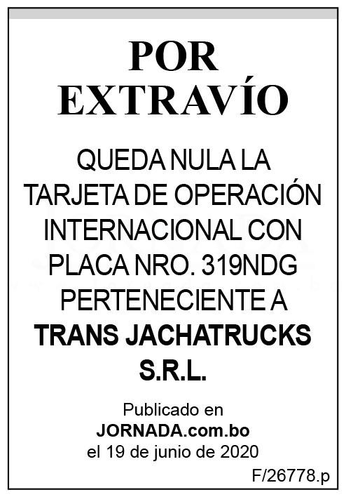 Extravío de tarjeta de operación internacional de Trans Jachatrucks SRL 2da
