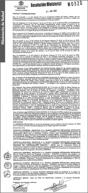 Ministerio de Salud Resolución Ministerial 0320