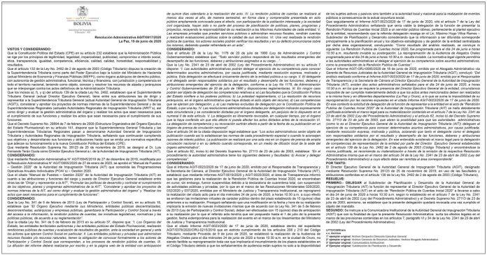 Resolución Administrativa AGIT 0017 2020