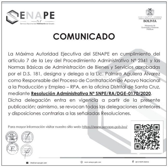 SENAPE Resolución Administrativa SNPE RA DGE 0170 2020