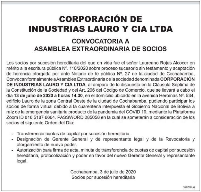 Corporación de Industrias Lauro y Cía. Ltda. Convocatoria a Asamblea Extraordinaria de Socios