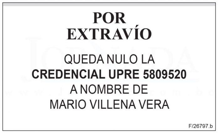 Extravío credencial UPRE 5809520