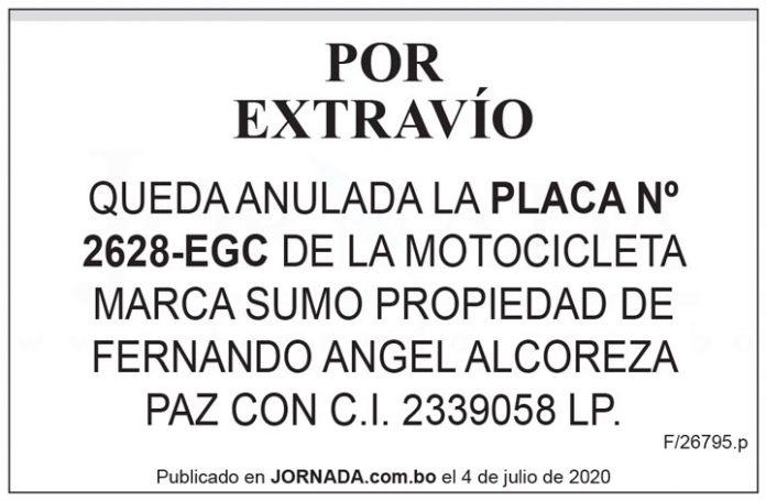 Extravío placa 2628 EGC motocicleta Sumo 2da