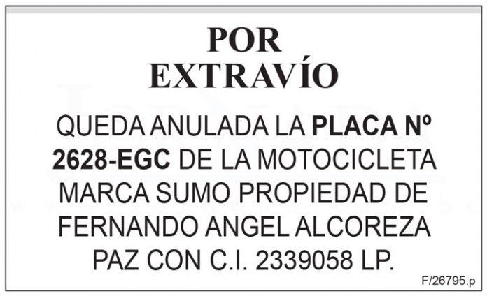Extravío placa 2628 EGC motocicleta Sumo