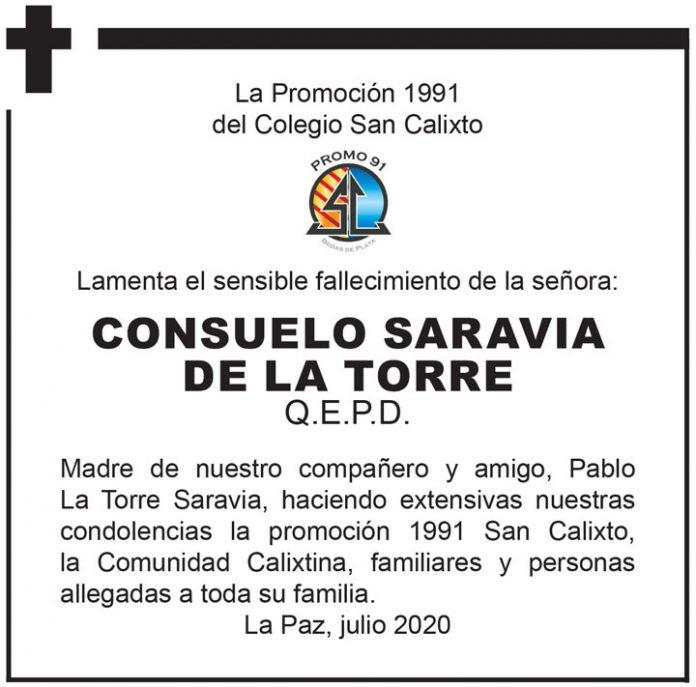 Fallecimiento Consuelo Saravia de la Torre