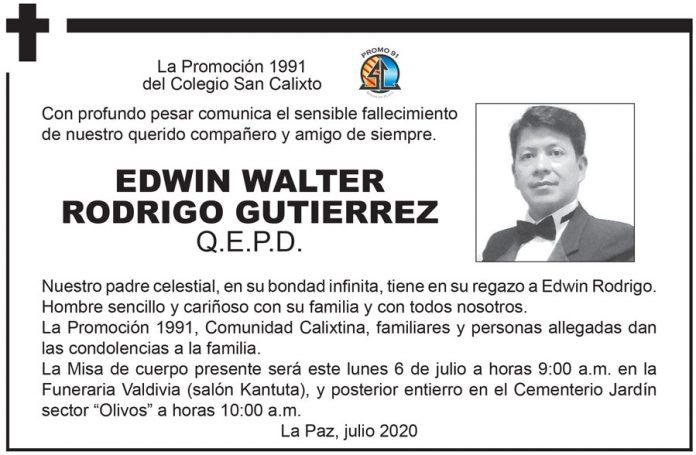 Fallecimiento Edwin Walter Rodrigo Gutiérrez