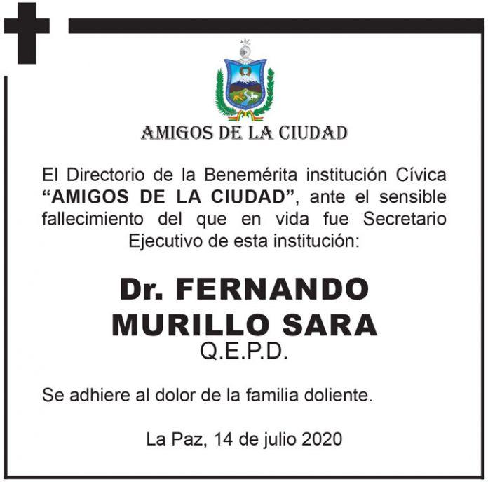 Fallecimiento Fernando Murillo Sara Amigos de la Ciudad