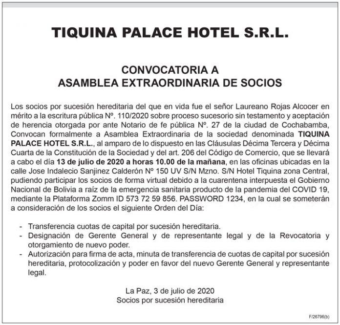Tiquina Palace Hotel SRL Convocatoria a Asamblea Extraordinaria de Socios