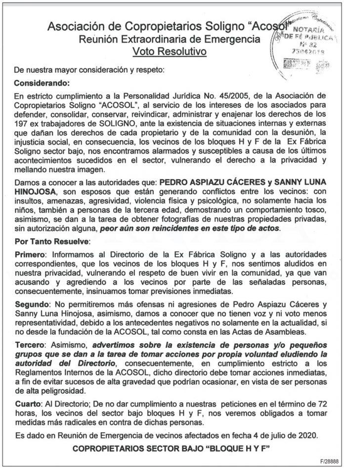 Asociacion de Copropietarios Soligno Acosol Reunion Extraordinaria de Emergencia