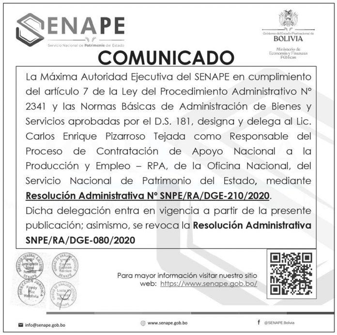Comunicado SENAPE