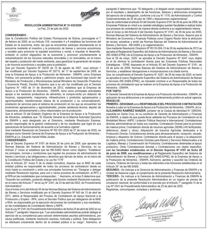 EMAPA Resolución Administrativa 01 032 2020