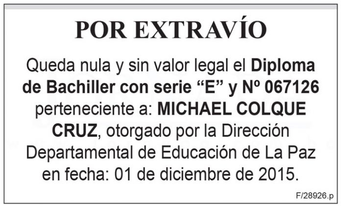 Extravio Diploma de Bachiller de Michael Colque Cruz