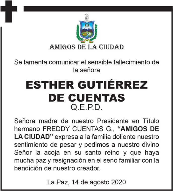 Fallecimiento Esther Gutierrez de Cuentas