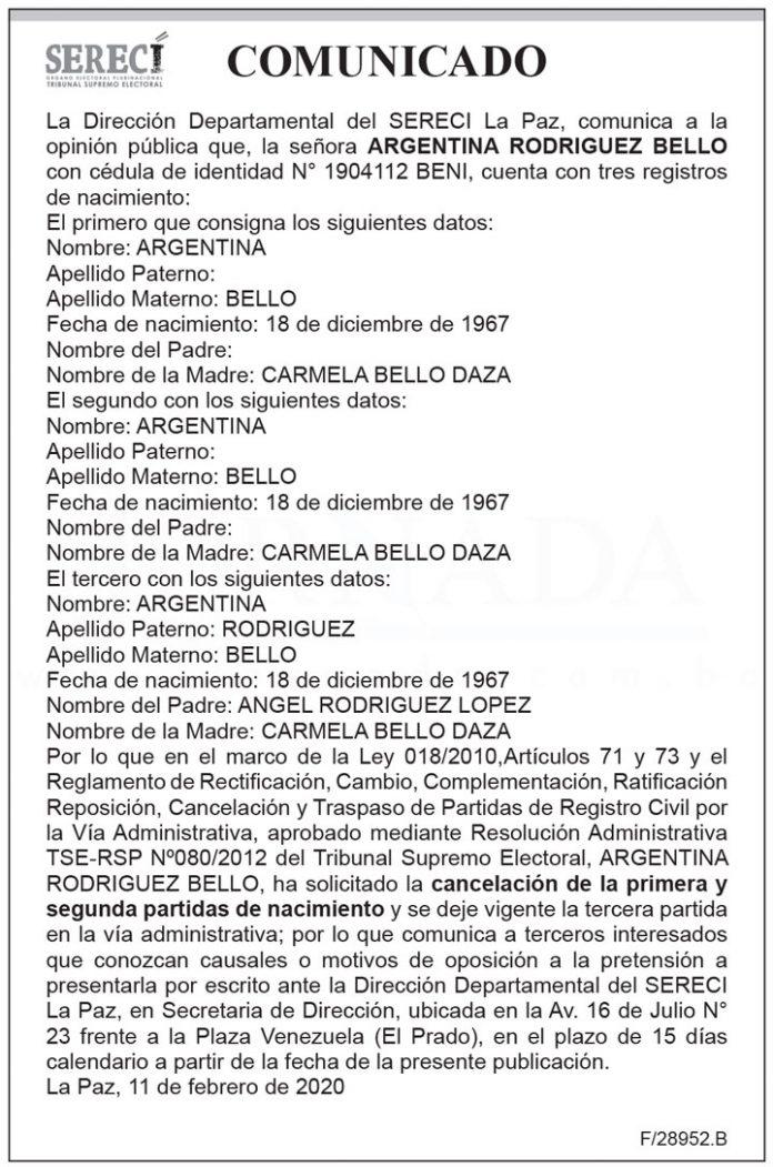 Comunicado SERECI Argentina Rodriguez Bello