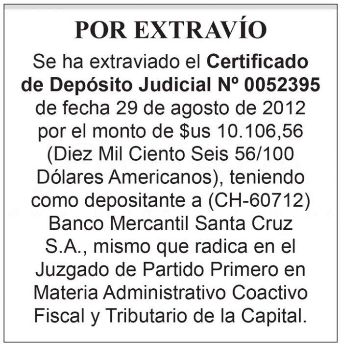 Extravio Certificado de Deposito Judicial 0052395