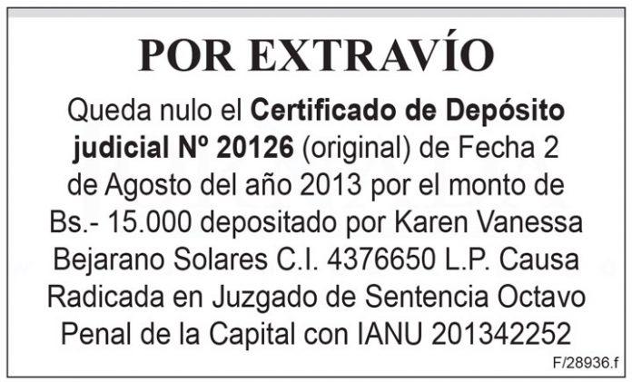 Extravio Certificado de Deposito judicial 20126