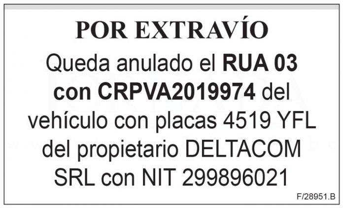 Extravio RUA 03 con CRPVA2019974