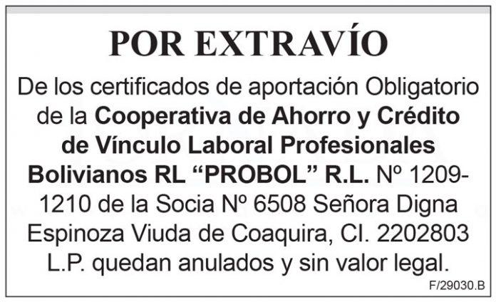 Extravio certificados de aportacion Obligatorio PROBOL