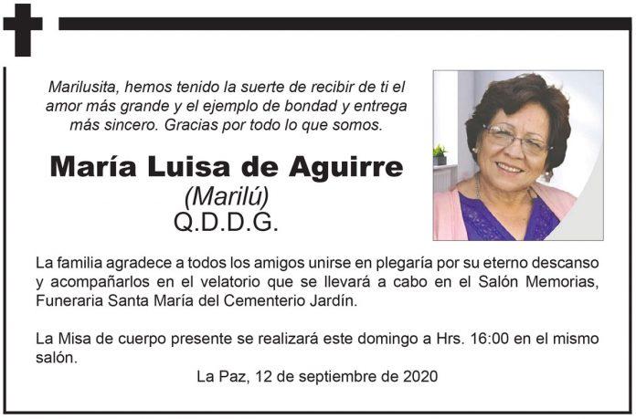 Fallecimiento Maria Luisa de Aguirre