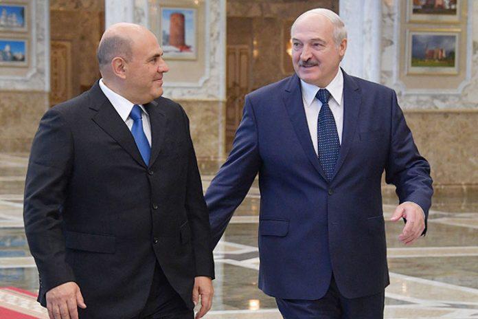Mijail Mishustin y Alexandr Lukashenko