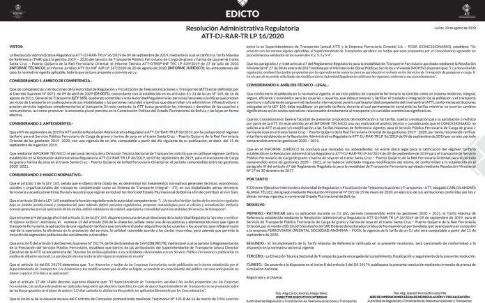 Resolucion Administrativa Regulatoria ATT DJ RAR TR LP 16 2020