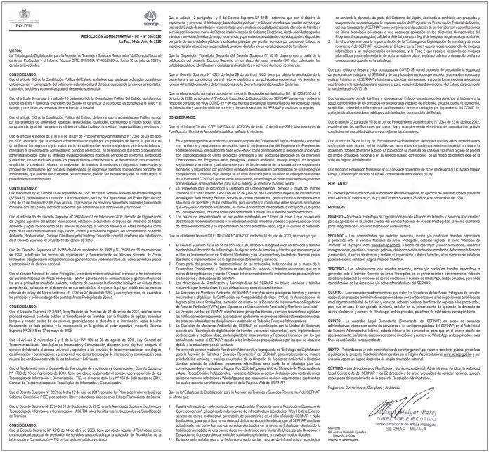 SERNAP Resolucion Administrativa 030 2020 1