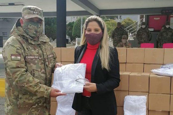 Carolina Ribera participo de la entrega de kits de bioseguridad cadetes del Colegio Militar del Ejercito