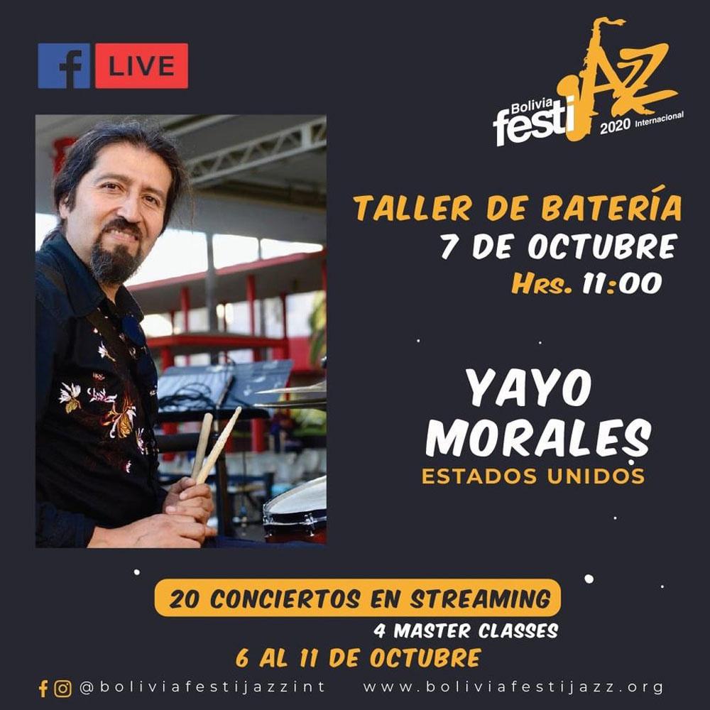 Compositor y productor Yayo Morales guiara un taller de bateria desde Estados Unidos