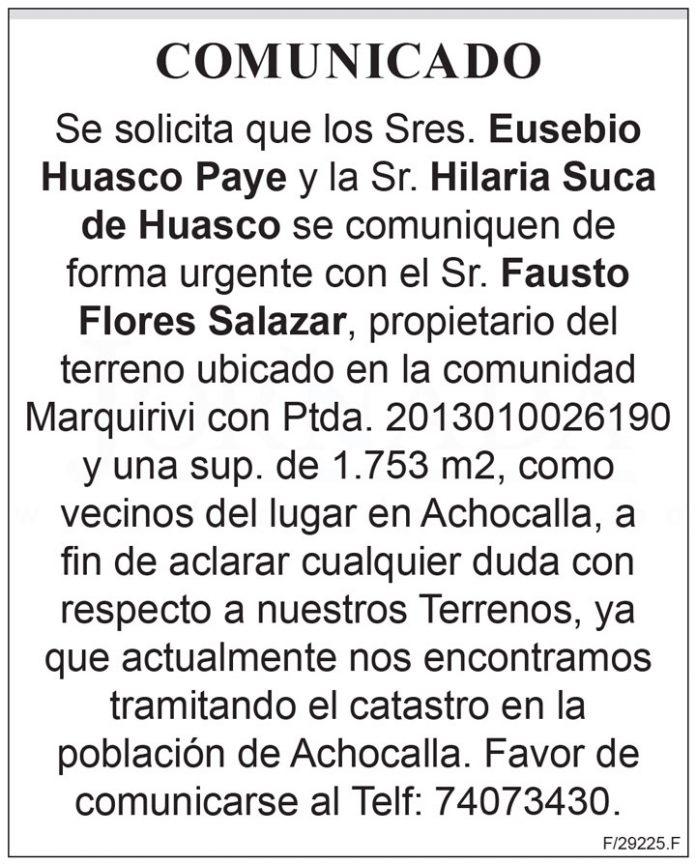 Comunicado Fausto Flores Salazar
