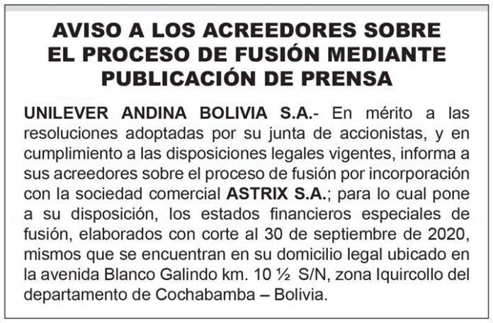 Comunicado Unilever Andina Bolivia SA