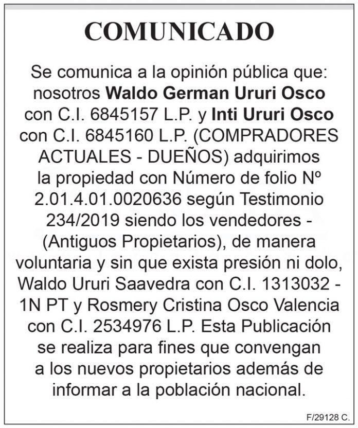 Comunicado Waldo German Ururi Osco y Inti Ururi Osco