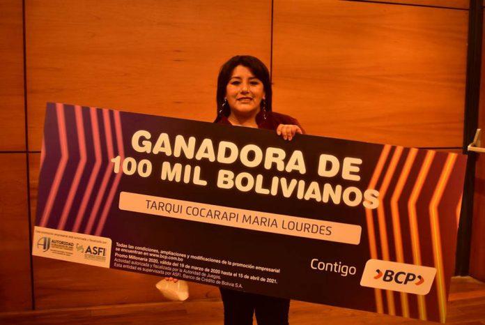 Emprendedora Altena gana 100 mil Bs. de la Promo Millonaria del BCP