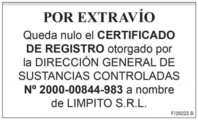 Extravio Certificado de Registro 2000 00844 983