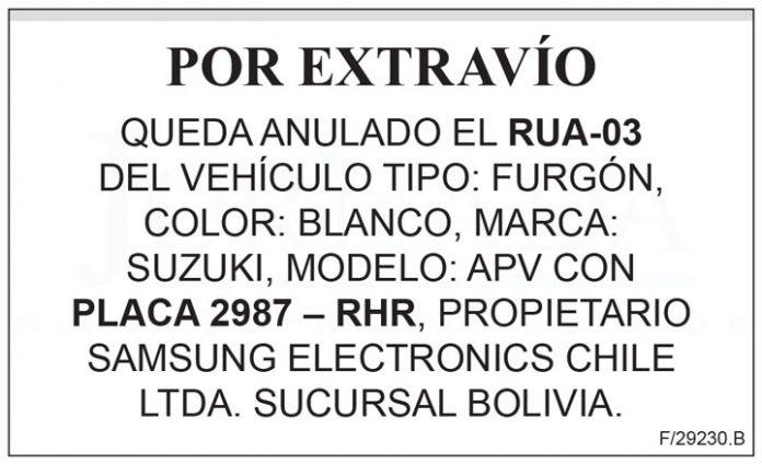 Extravio RUA 03 placa 2987 RHR