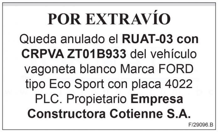 Extravio RUAT 03 con CRPVA ZT01B933