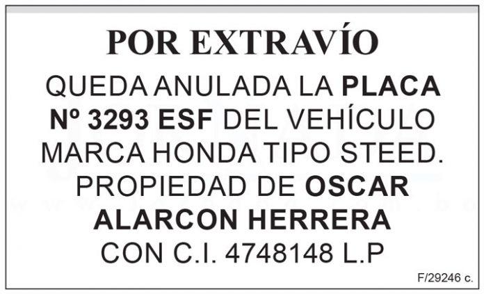 Extravio placa 3293 ESF