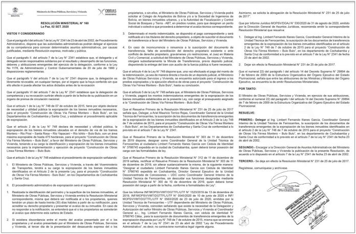 MOPSV Resolucion Ministerial 160