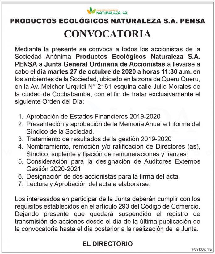 Productos Ecologicos Naturaleza SA PENSA Junta General Ordinaria de Accionistas