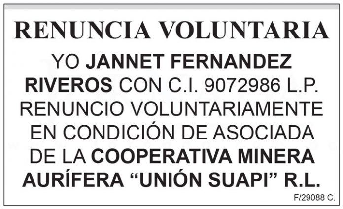 Renuncia voluntaria Jannet Fernandez Riveros