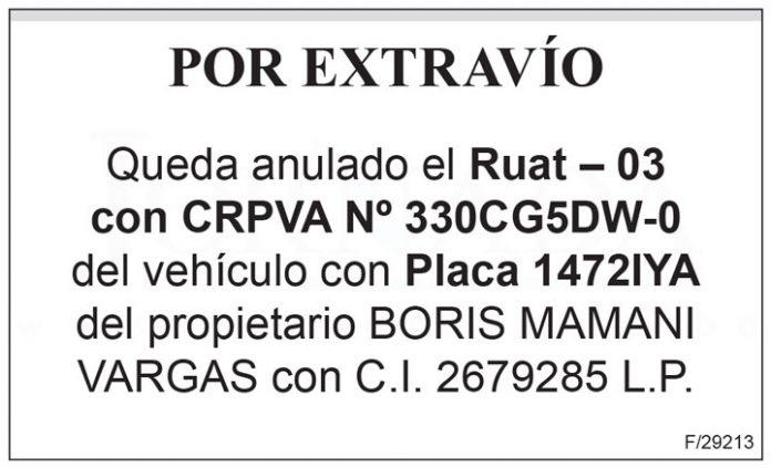 Ruat 03 CRPVA No 330CG5DW 0