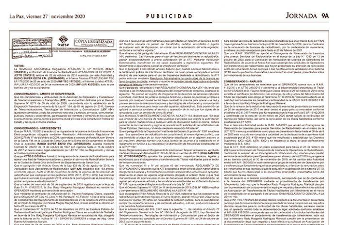 Resolución Administrativa Regulatoria ATT-DJ-RAR-TL LP 398/2020 - Radio Super Éxito FM