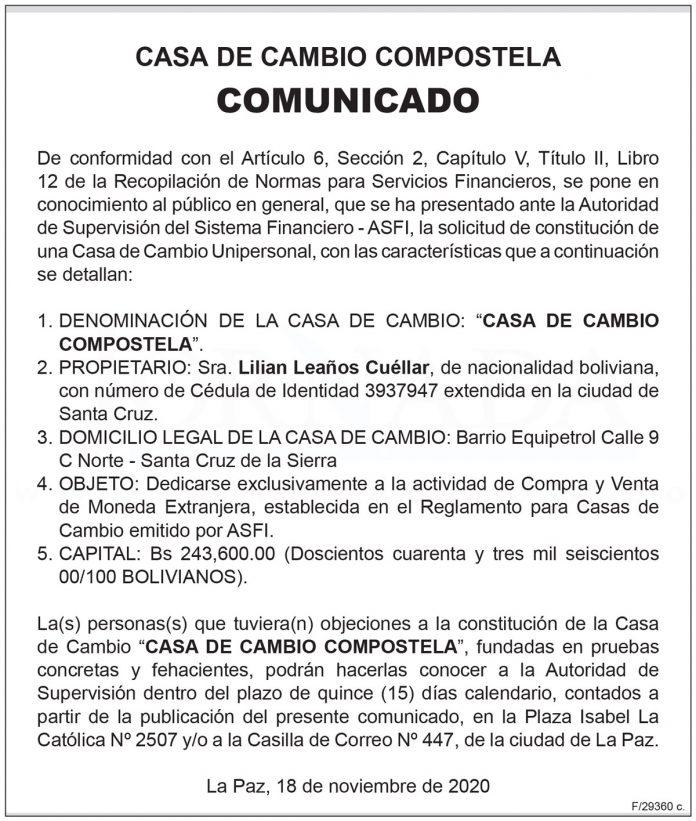 Comunicado - Casa de Cambio Compostela