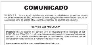 """Comunicado WILAEN S.R.L. - Servicio VAS """"BOLPLAY"""""""